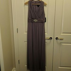 NWT shimmer lavender gown with crystal belt detail
